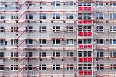 High building house in scaffolding Stock Photos