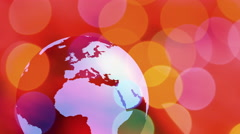 World globe rotating red background Stock Footage