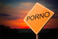 Porno on Warning Road Sign. - stock illustration