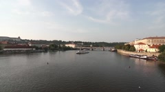 The Vitava River in Prague Stock Footage