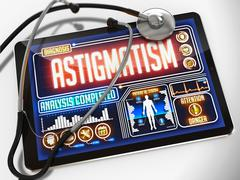 Astigmatism on the Display of Medical Tablet. - stock illustration