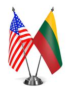 USA and Lithuania - Miniature Flags. Stock Illustration