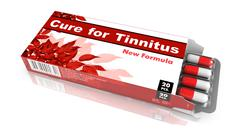 Cure For Tinnitus Red Open Blister Pack. Stock Illustration
