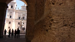 People visiting the cathedral of Salzburg Stock Footage