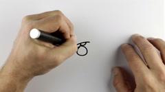 Sketching a cartoon doodle - bad mood Stock Footage