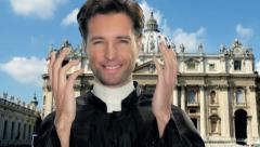 Young catholic priest in vatican city Stock Footage