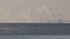 Smoke stacks climate change emissions pollution air quality global warming - stock footage