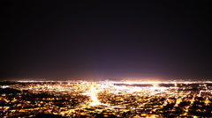 Time Lapse of Star Trails over Bay Area Cityscape Night to Day - stock footage