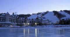 Ski resort with slopes in evening 4K Time Lapse Stock Footage