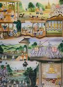 Stock Photo of thai mural painting of thai people life in the past
