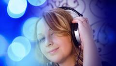 Music intro background, pretty young woman listening music on headphones - stock footage