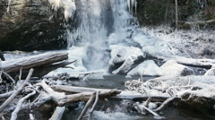 Icey Winter Waterfall Stock Footage