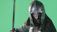 Knight of the Throne Wields Sword and Armor on Greenscreen Stock Footage