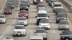 Time Lapse View of Traffic on Busy Freeway in Downtown Los Angeles - stock footage