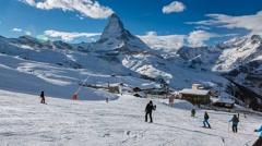 Zermatt Ski Resort and Matternhorn Peak Stock Footage