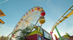 Roller Coaster Ferris Wheel Pacific Park Santa Monica Pier Los Angeles Ca Stock Footage