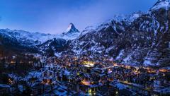 Aerial View on Zermatt Ski Resort and Matternhorn Peak in the Morning Stock Footage