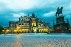 dresden opera house. in the evening - stock photo