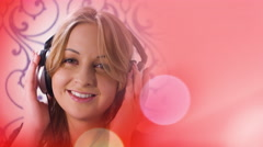 Red music background and pretty young woman listening music looking at camera Stock Footage