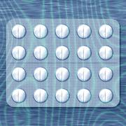 White pills in soothing blue light reminiscent of the slow flow of water - stock illustration