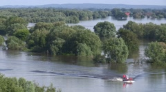 Flooded river in Germany Stock Footage