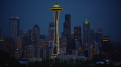 View of Space Needle from Kelly Park at night Stock Footage