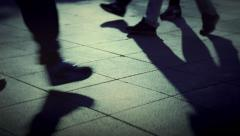People walking crowd footsteps long shadows silhouettes 2 cold fx Arkistovideo