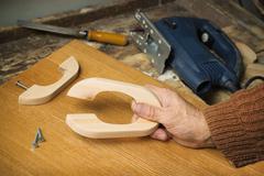 manufacture of furniture handles alder - stock photo