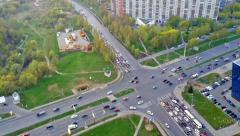 Top view on the intersection of roads with heavy traffic of transport Stock Footage