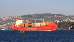 Commercial container ship Stock Footage