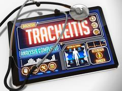 Tracheitis on the Display of Medical Tablet. Stock Illustration