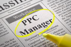 PPC Manager Vacancy in Newspaper. Stock Photos