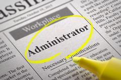 Administrator Jobs in Newspaper. - stock photo