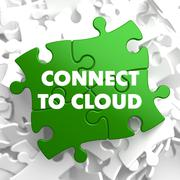 Connect to Cloud on Green Puzzle. - stock illustration