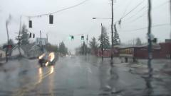 Rainy Weather Drive Point Of View Timelapse Stock Footage