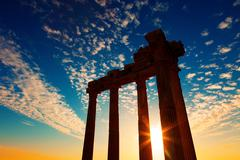 Ancient greek ruins in the turkish city of side Stock Photos