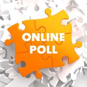 Online Poll on Orange Puzzle. - stock illustration
