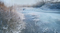Frosted lake - stock footage