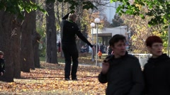 Man walking on a tightrope Stock Footage