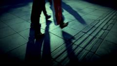 People walking crowd footsteps long shadows silhouettes 3 cold fx Arkistovideo