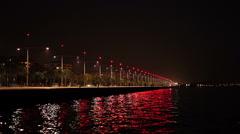 Thessaloniki Port at Night Stock Footage