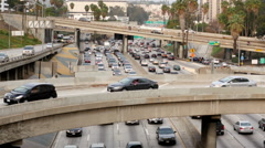 Pan Up of Heavy Traffic in Downtown Los Angeles - stock footage