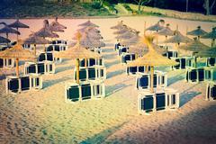 sun loungers - stock photo
