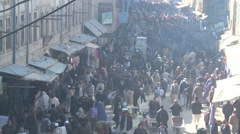 Wide shot of busy food market in Kabul Afghanistan Stock Footage