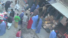 High angle shot of food market in Kabul Afghanistan Stock Footage