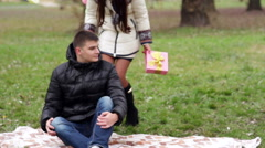 Loving woman and a man looking at each other Stock Footage