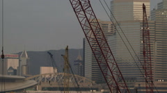 Cranes moving in Hong Kong building city Stock Footage