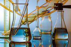 Chemical ware in the science lab laboratory Stock Photos