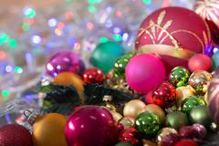 Stock Photo of christmas balls on bokeh background color