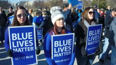 "Law enforcement supporters attend the ""Sea of Blue"" rally in Washington, DC. Stock Footage"
